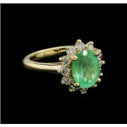 2.02 ctw Emerald and Diamond Ring - 14KT Yellow Gold
