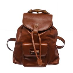 Gucci Brown Leather Drawstring Bamboo Mini Backpack
