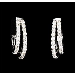 0.60 ctw Diamond Earrings - 14KT White Gold