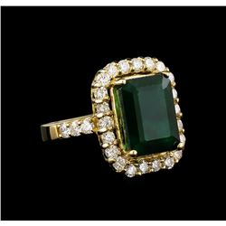 14KT Yellow Gold 6.96 ctw Emerald and Diamond Ring