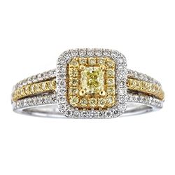 0.77 ctw Yellow and White Diamond Ring - 18KT White and Yellow Gold