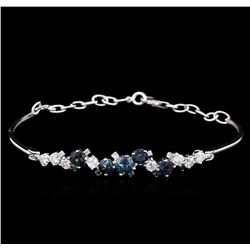 1.48 ctw Blue Sapphire and Diamond Bracelet - 14KT White Gold