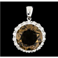 14.34 ctw Topaz and Diamond Pendant - 14KT White Gold