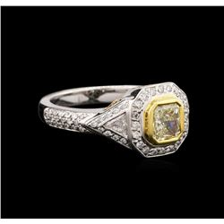 18KT Two-Tone Gold 1.23 ctw Fancy Light Yellow Diamond Ring