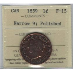 Canada 1859 Large Cent ICCS F15 Polished