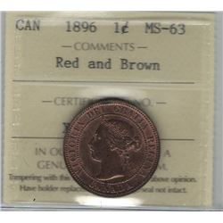 Canada 1896 Large Cent ICCS MS63 Red and Brown
