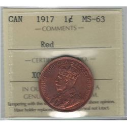 Canada 1917 Large Cent ICCS MS63 Red
