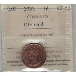 Canada 1933 Small Cent ICCS AU55 Cleaned