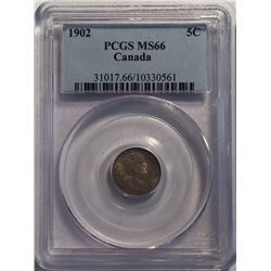 Canada 1902 Silver 5 Cent PCGS MS66