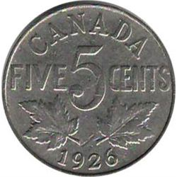 Canada 1926 Far 6 5 Cent Nickel