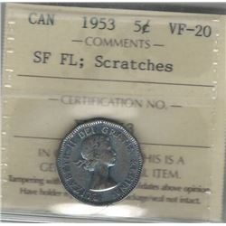 Canada 1953 5 Cents ICCS VF-20 SF FL; Scratches