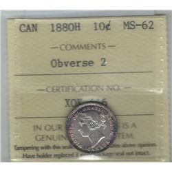 Canada 1880H Silver 10 Cents Obverse 2 ICCS MS62