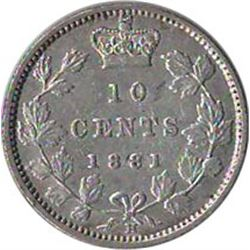 Canada 1881H Silver 10 Cents