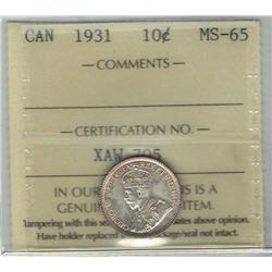 Canada 1931 Silver 10 Cents ICCS MS65