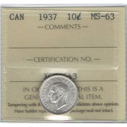 Canada 1937 Silver 10 Cents ICCS MS63