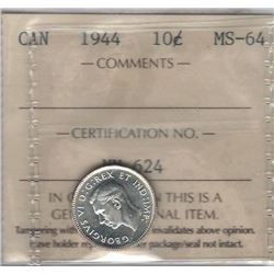 Canada 1944 Silver 10 Cents ICCS MS64