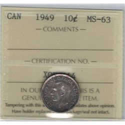 Canada 1949 Silver 10 Cents ICCS MS63