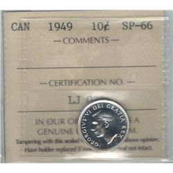 Canada 1949 Silver 10 Cents ICCS SP66