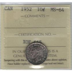 Canada 1952 Silver 10 Cents ICCS MS64