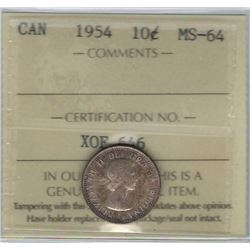 Canada 1954 Silver 10 Cents ICCS MS64