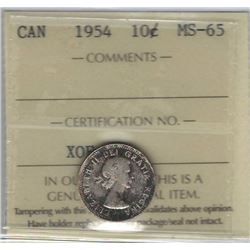 Canada 1954 Silver 10 Cents ICCS MS65