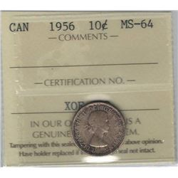 Canada 1956 Silver 10 Cents ICCS MS64 Toned
