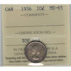 Canada 1956 Silver 10 Cents ICCS MS65 Toned