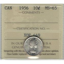 Canada 1956 Silver 10 Cents ICCS MS65 White