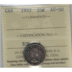 Canada 1957 Silver 10 Cents ICCS AU50