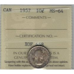 Canada 1957 Silver 10 Cents ICCS MS64