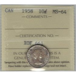 Canada 1958 Silver 10 Cents ICCS MS64