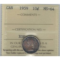 Canada 1959 Silver 10 Cents ICCS MS64