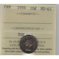 Canada 1959 Silver 10 Cents ICCS MS65