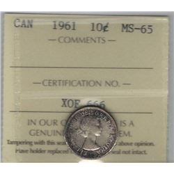 Canada 1961 Silver 10 Cents ICCS MS65