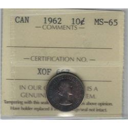 Canada 1962 Silver 10 Cents ICCS MS65