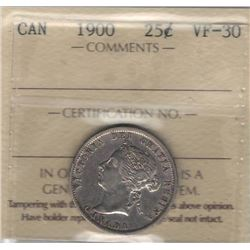 Canada 1900 25 Cent ICCS VF30