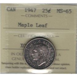 Canada 1947 Maple Leaf Silver 25 Cents ICCS MS65