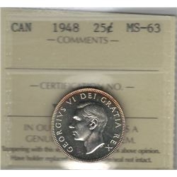Canada 1948 Silver 25 Cents ICCS MS63