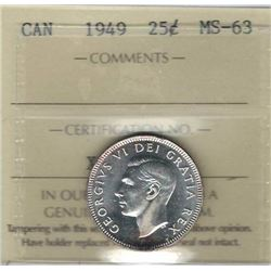 Canada 1949 Silver 25 Cents ICCS MS63