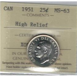 Canada 1951 High Relief Silver 25 Cents ICCS MS63
