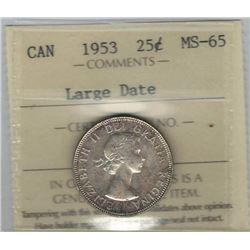 Canada 1953 NSF Large Date Silver 25 Cents ICCS MS65