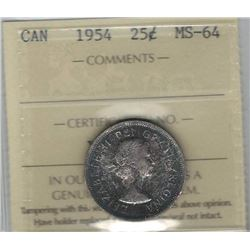 Canada 1954 Silver 25 Cents ICCS MS64