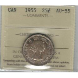 Canada 1955 Silver 25 Cents ICCS AU55