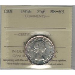 Canada 1956 Silver 25 Cents ICCS MS63