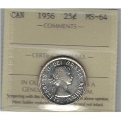 Canada 1956 Silver 25 Cents ICCS MS64