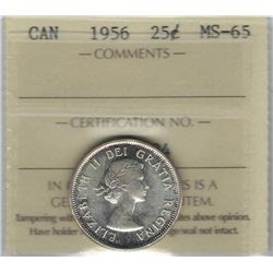 Canada 1956 Silver 25 Cents ICCS MS65