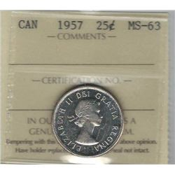 Canada 1957 Silver 25 Cents ICCS MS63