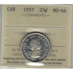 Canada 1957 Silver 25 Cents ICCS MS64