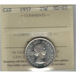 Canada 1957 Silver 25 Cents ICCS MS65