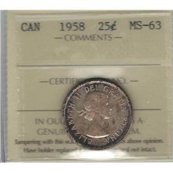 Canada 1958 Silver 25 Cents ICCS MS63